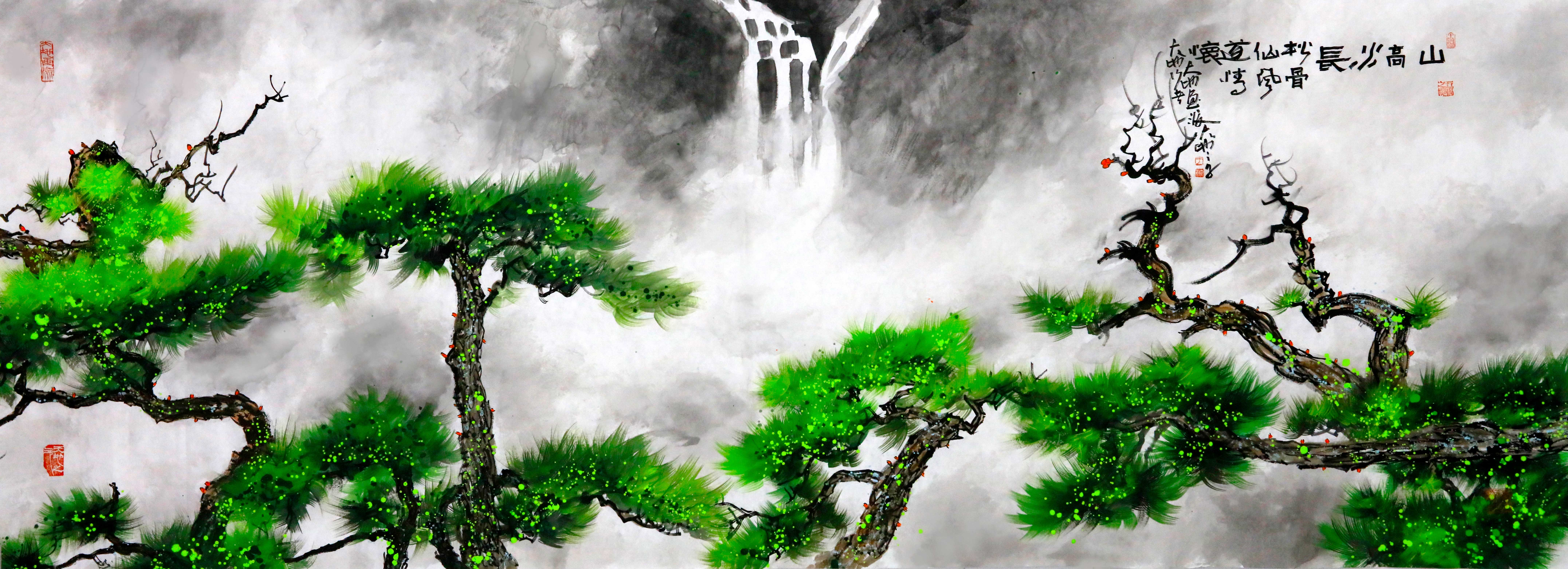《山高水长》70X200cm--水墨厚彩境画.jpg