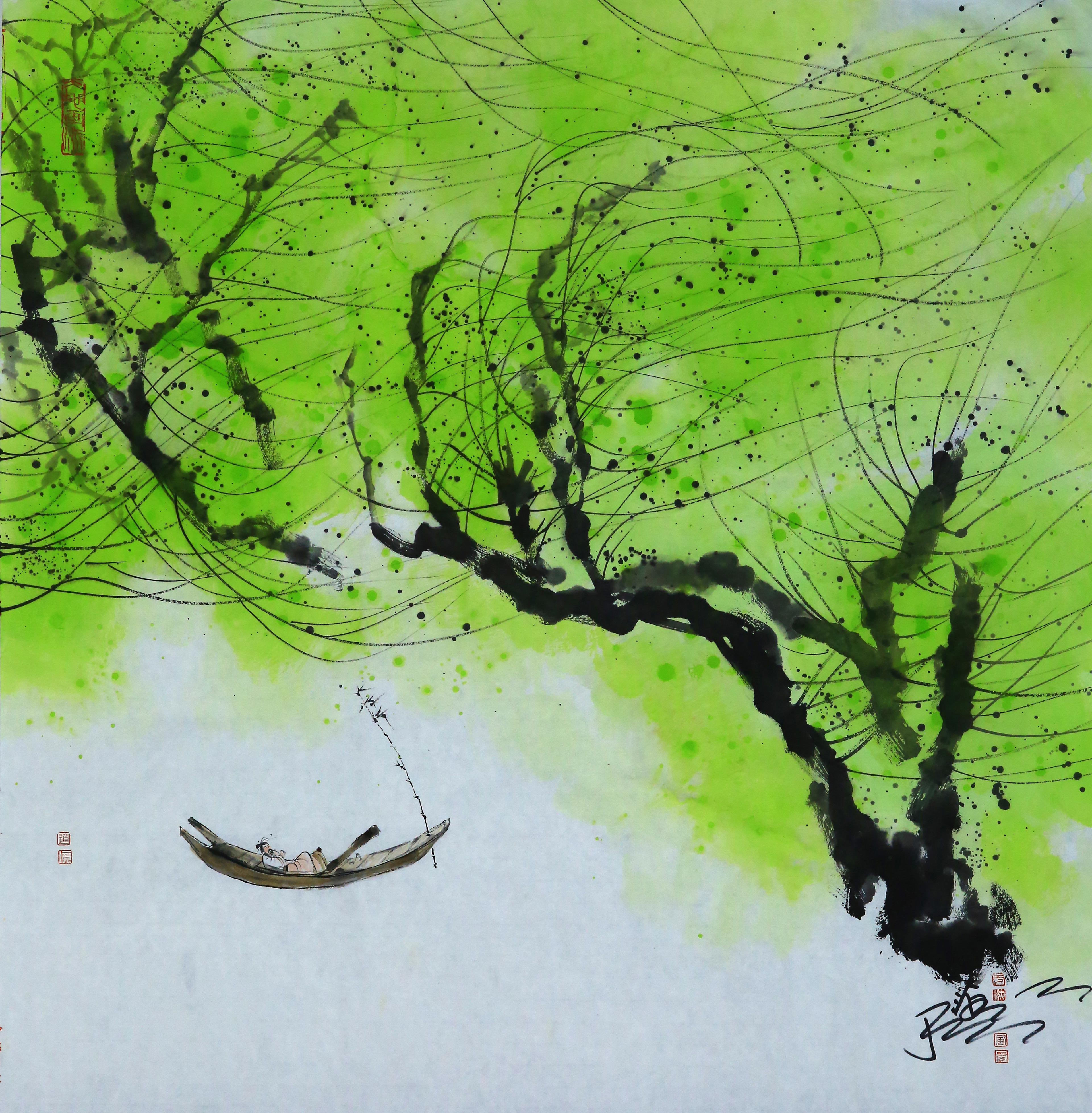 《春风自在高士》71X73cm--水墨厚彩境画.jpg