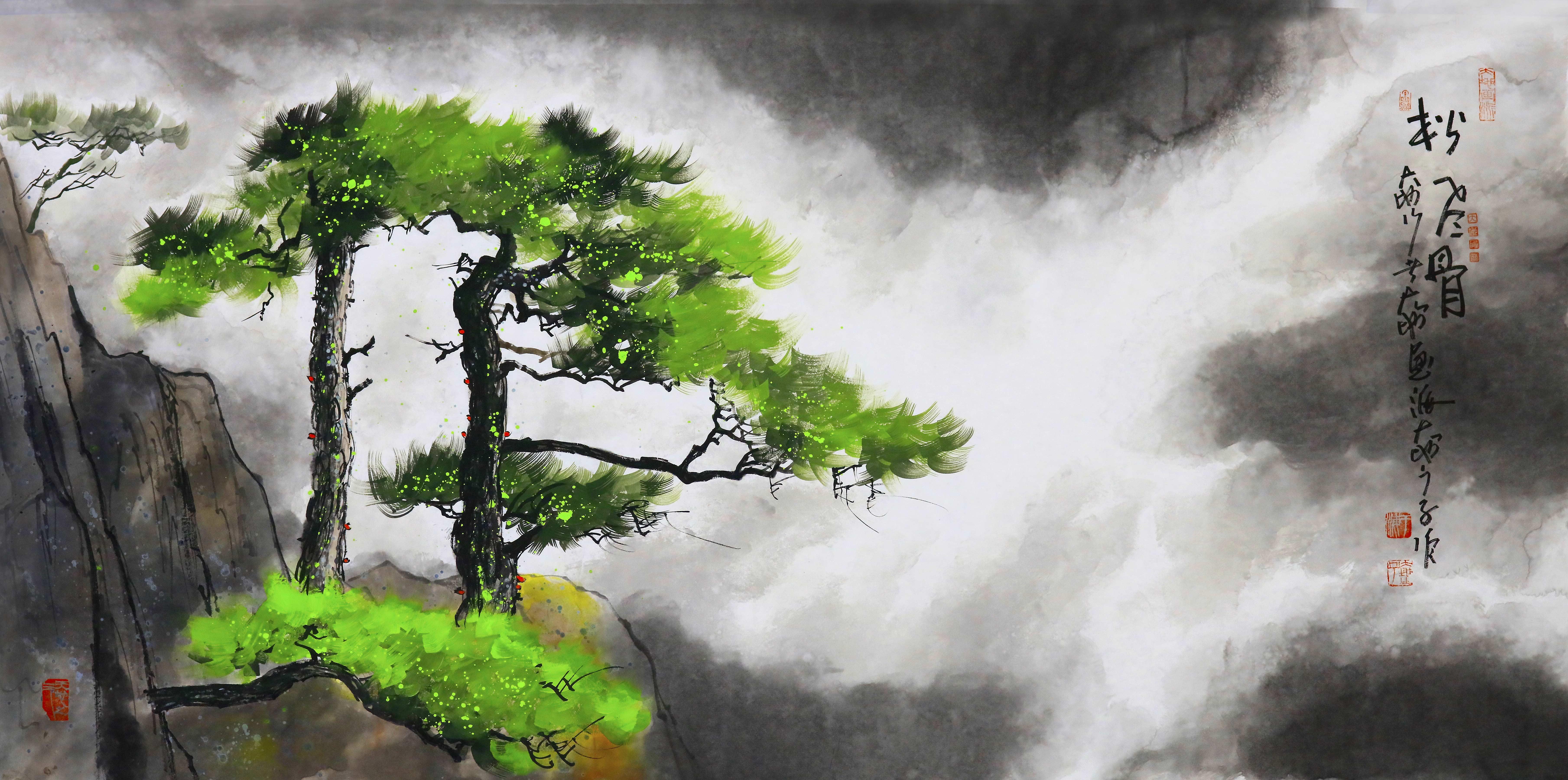 《松风骨》70X140cm--水墨厚彩境画.jpg