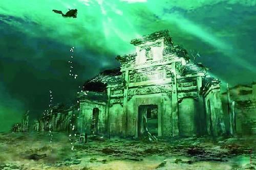 """杭州千岛湖水下古城""""重生"""" 水下vr成亮点"""